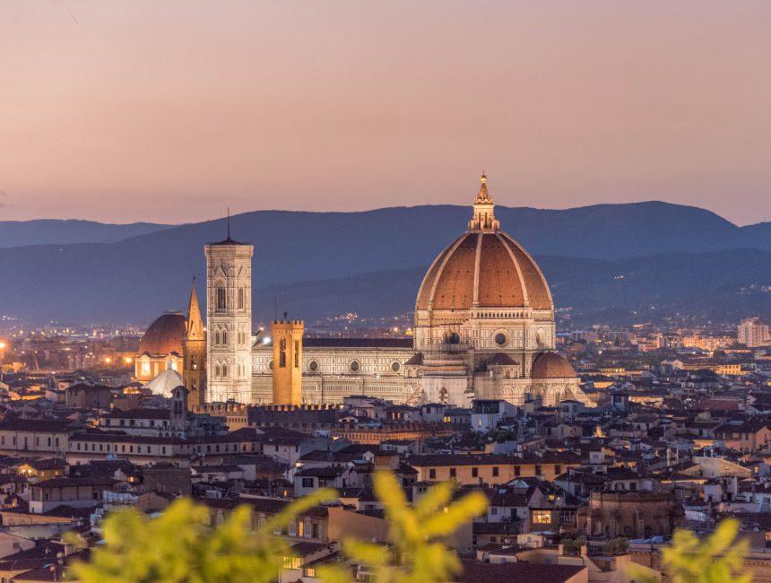 Sonnenuntergang Piazzale Michelangelo duomo firenze